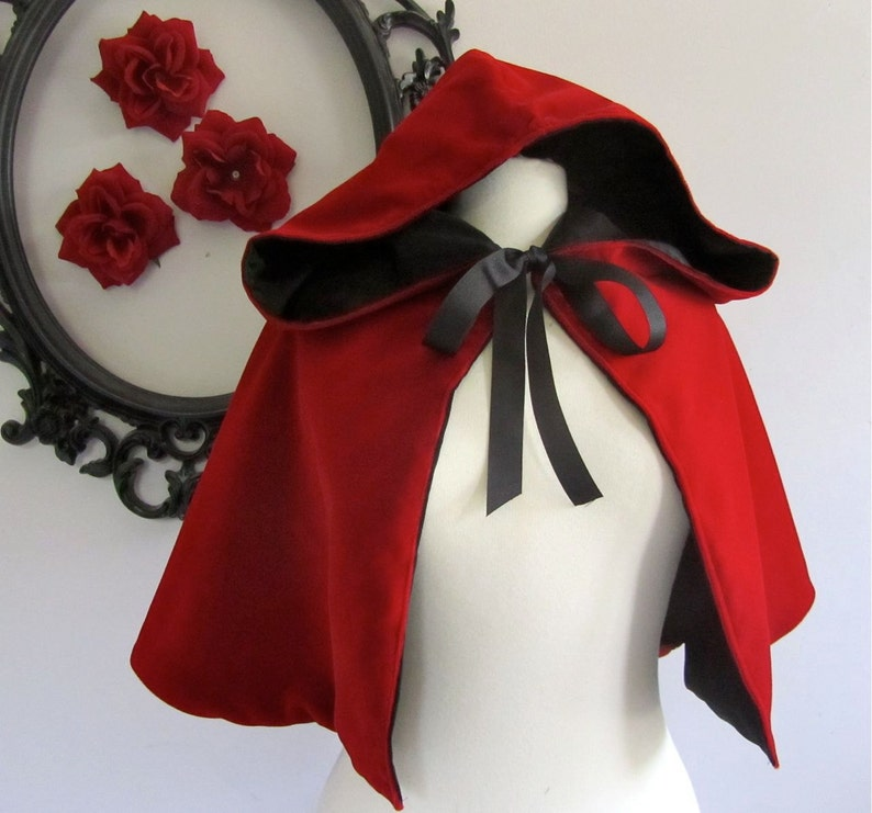 Red Riding Hood Cape red hooded capelet for adults velvet image 0