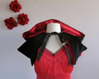Red Riding Hood Capelet red or black velvet shoulder length hooded cape for women