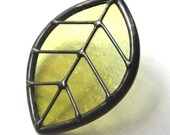Single leaf - large olive stained glass pendant (1001)