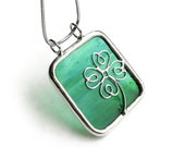 Stained glass pendant necklace - Clover Green 1468