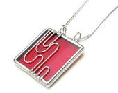 Stained glass necklace pendant cherry red (1472)
