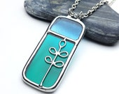 Stained glass pendant leaves 9126