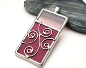 Stained glass pendant necklace - swirls 9123