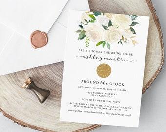 2fb1a0f61ef Around the Clock Bridal Shower Invitation - Floral