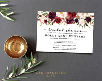 Bridal Shower Invitation INSTANT DOWNLOAD | Editable Bridal Shower Invite Template | marsala, holiday, burgundy | Holly, Printable PDF