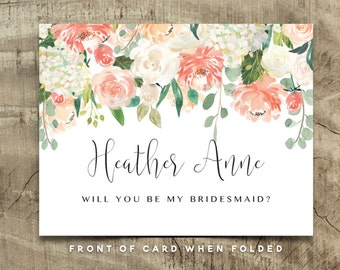 Editable CUSTOM Will You Be My Bridesmaid Card, Maid of Honor, Wedding Party | Custom | Heather collection | Editable PDF, Instant Download