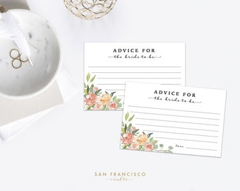 advice for the bride cards bridal shower insert 4x6 heather collection printable peach coral floral instant download pdf file