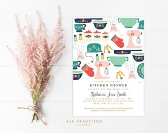 kitchen shower invitation instant download bridal shower invite template vintage kitchen collection diy pdf template file
