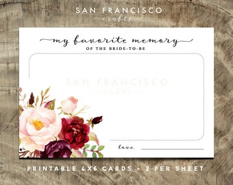 favorite memory of the bride cards bridal shower game bridal shower activity holly collection instant download pdf file