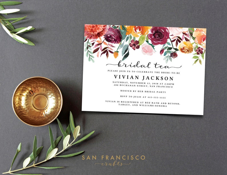 Printable Invite INSTANT Download VIVIAN Collection Bridal Shower Invitation Bridal Tea Invitation Editable PDF Template