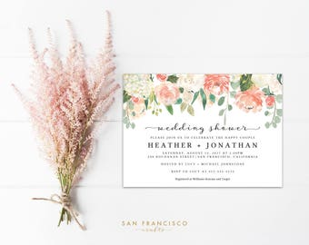 Wedding Shower Invitation INSTANT DOWNLOAD | Editable Invite Template | Hydrangea, Peach, Coral | Printable PDF File - Heather Collection