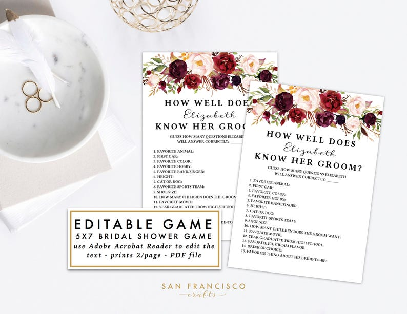 EDITABLE How Well Does the Bride Know The Groom | Bridal Shower, Couples  Shower Game | Holly Collection, Printable, Instant Download PDF