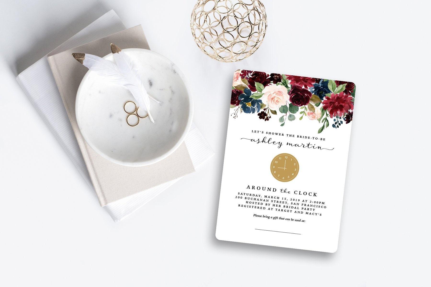 Around the Clock Bridal Shower Invitation Floral Marsala | Etsy