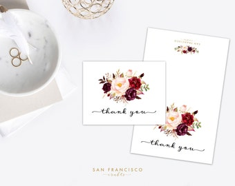 Floral Thank You Card | Bridal Shower, Baby Shower, Wedding, Thank You Card, Marsala  |  Stationary - Holly Collection - PDF Printable File