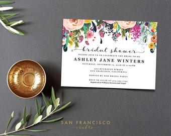 Bridal Shower Invitation INSTANT DOWNLOAD | Printable Bridal Shower Invite | Floral, Pink | Ashley Collection  | Editable PDF Template