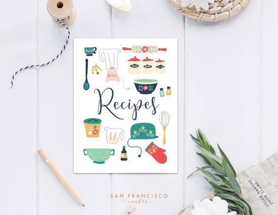 Recipe Binder Cover US Letter Vintage Kitchen Digital | Etsy