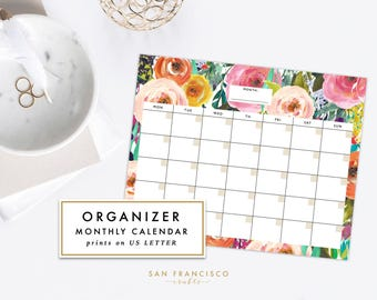 Floral Monthly Calendar Printable,  PDF | Letter-sized Watercolor Floral | Blank, Organizer, Planner | Ashley Collection | Instant Download