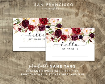 Printable Floral Name Tag - Bridal Shower, Baby Shower, Rehearsal Dinner, Name Tag - Holly Collection - INSTANT Download PDF File