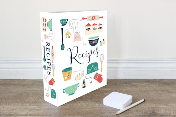 Recipe Binder Spine And Cover Printable 1 5 2 And 4 Inch Binder Spines Included Vintage Kitchen Collection Instant Download Pdf File