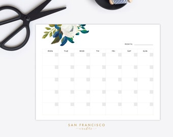 Printable Blank Monthly Calendar |  Letter-sized Floral Monthly Calendar, Printable Planner | Diana Collection | PDF, Instant Download