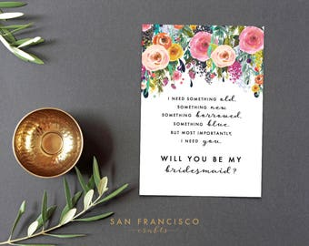 Will you be my BRIDESMAID Card, Something Old, Something New, Flat and Folded Card, Bridesmaid Proposal, Ashley, Printable, Instant Download