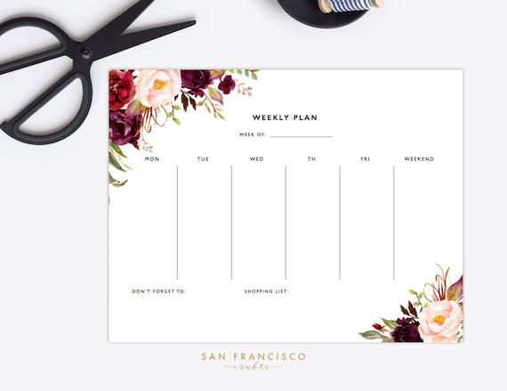 Weekly Planner Printable Letter Sized Watercolor Floral Etsy
