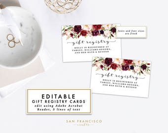 Editable Gift Registry Insert or Gift Registry Card    Printable Wedding, Bridal or Baby Shower Insert   Roses   Holly Collection - PDF File