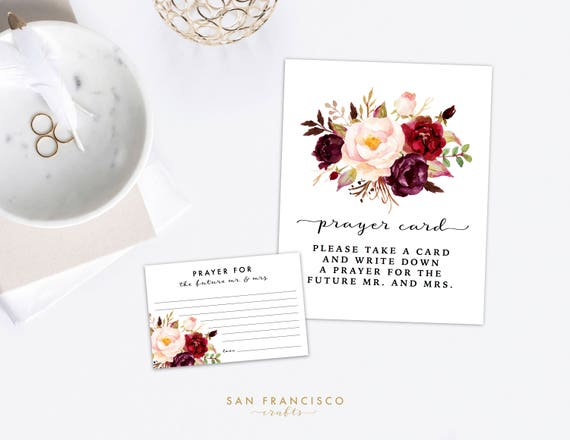 Prayer Cards And Sign Floral Bridal Shower Couples Shower Etsy