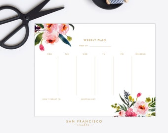 Weekly Planner Printable |  US Letter Watercolor Floral Weekly Plan | Floral Calendar | Elise Collection | PDF, Instant Download