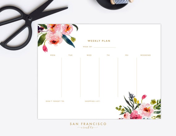 Weekly Planner Printable Us Letter Watercolor Floral Weekly Etsy
