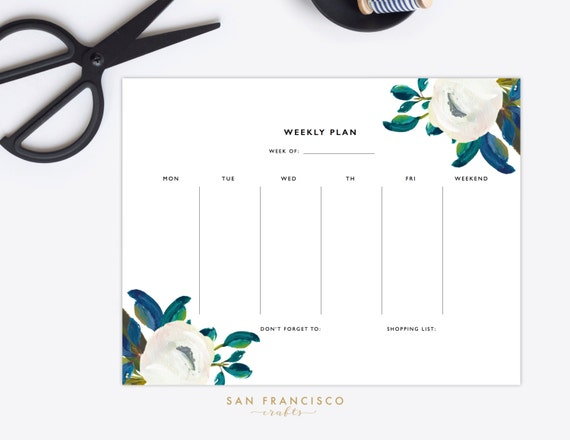 Weekly Planner Printable Floral Daily Schedule Diana Etsy