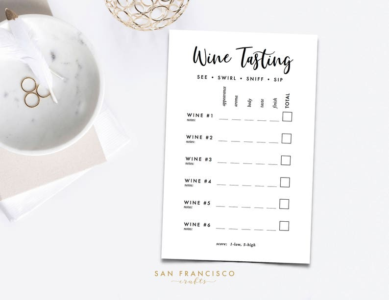 photo about Wine Tasting Sheets Printable called Wine Tasting Ranking Card - Printable Wine Tasting Playing cards, 6 wines - PDF Prompt Down load