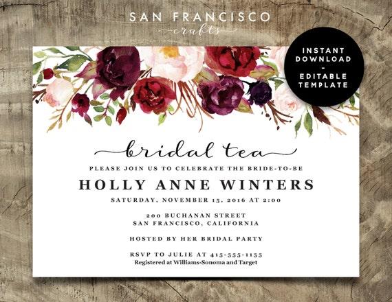 Bridal Tea Invitation Bridal Shower Invitation Printable Etsy