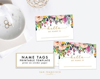 Printable Floral Name Tag - Bridal Shower, Baby Shower, Rehearsal Dinner, Name Tag - Ashley Collection - INSTANT Download PDF File