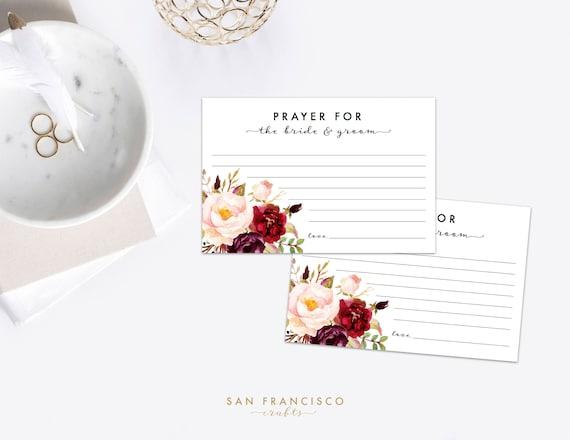 Prayer For The Bride And Groom Cards Bridal Shower Prayer Etsy