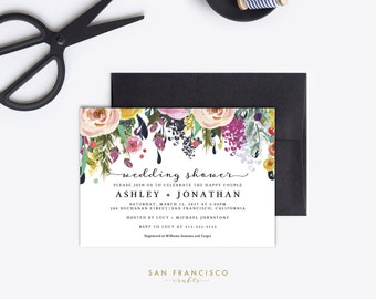 Wedding Shower Invitation INSTANT DOWNLOAD   Editable Wedding Shower Invite Template   Pink, Floral   Printable PDF File - Ashley Collection