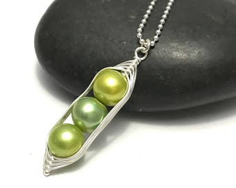Pea pod necklace //  Choose your pea count, peas in a pod with green fresh water pearls, pea pod jewelry