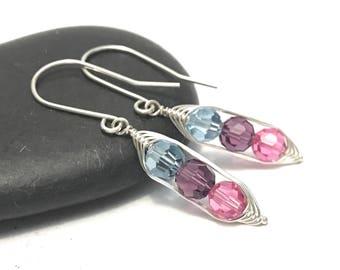 Birthstone pea pod earrings //  Custom , gift for sister, or best friend, gift for her // great gift for mom