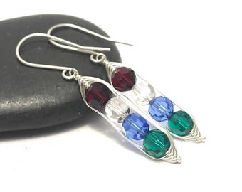 Custom birthstone pea pod earrings with swarovski crystals //  Custom Pea pod jewelry, gift for gift for her // great gift for mom