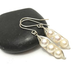 Pea pod white pearl earrings //  Choose your pea count, peas in a pod with white fresh water pearls, pea pod jewelry