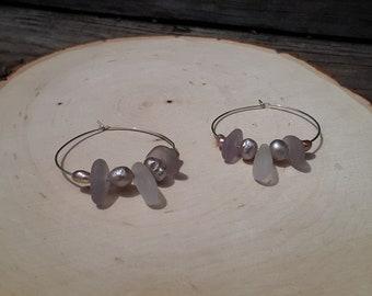 Beach Glass Hoop Earrings Sea Glass Hoop Earrings Handmade Genuine Sterling Silver Lavender  Beach Glass Earrings  Sea Glass Beaded Earrings