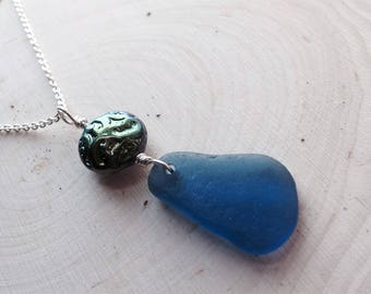 Blue Sea Glass Necklace with Czech Glass Rainbow Bead