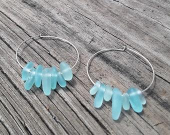Beach Glass Hoop Earrings Sea Glass Hoop Earrings Handmade Genuine Sterling Silver Turquoise Blue  Beach Glass Earrings  Sea Glass Earrings