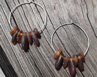 Beach Glass Hoop Earrings Sea Glass Hoop Earrings Handmade Genuine Sterling Silver Brown Beach Glass Earrings  Sea Glass Earrings