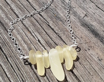 Beach Glass Bar Necklace Sea Glass Bar Necklace Handmade Genuine Sterling Silver Pale Yellow Beach Glass Necklace Sea Glass Necklace