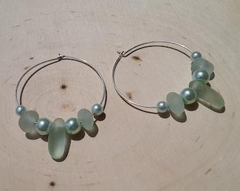 Beach Glass Hoop Earrings Sea Glass Hoop Earrings Handmade Genuine Sterling Silver Seafoam Beach Glass Earrings  Sea Glass Beaded Earrings