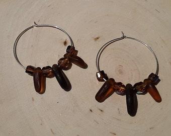 Beach Glass Hoop Earrings Sea Glass Hoop Earrings Handmade Genuine Sterling Silver Olive Beach Glass Earrings  Sea Glass Beaded Earrings