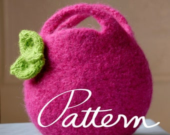 PATTERN- Felt Bag - Digital Download-  Felted Berry Bag and Knit Leaf - Small and Large Circular Clutch - Knitting pattern for Kids