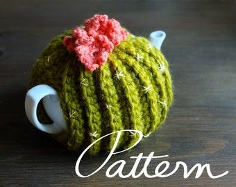 PATTERN - Crochet Pattern Digital Download - Cactus Tea Cozy - Green - Desert Flower - Cosy