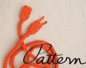 PATTERN - Knitted Power Cord Digital Download - Necklace - Art Toy - Geek Scarf - Knitting